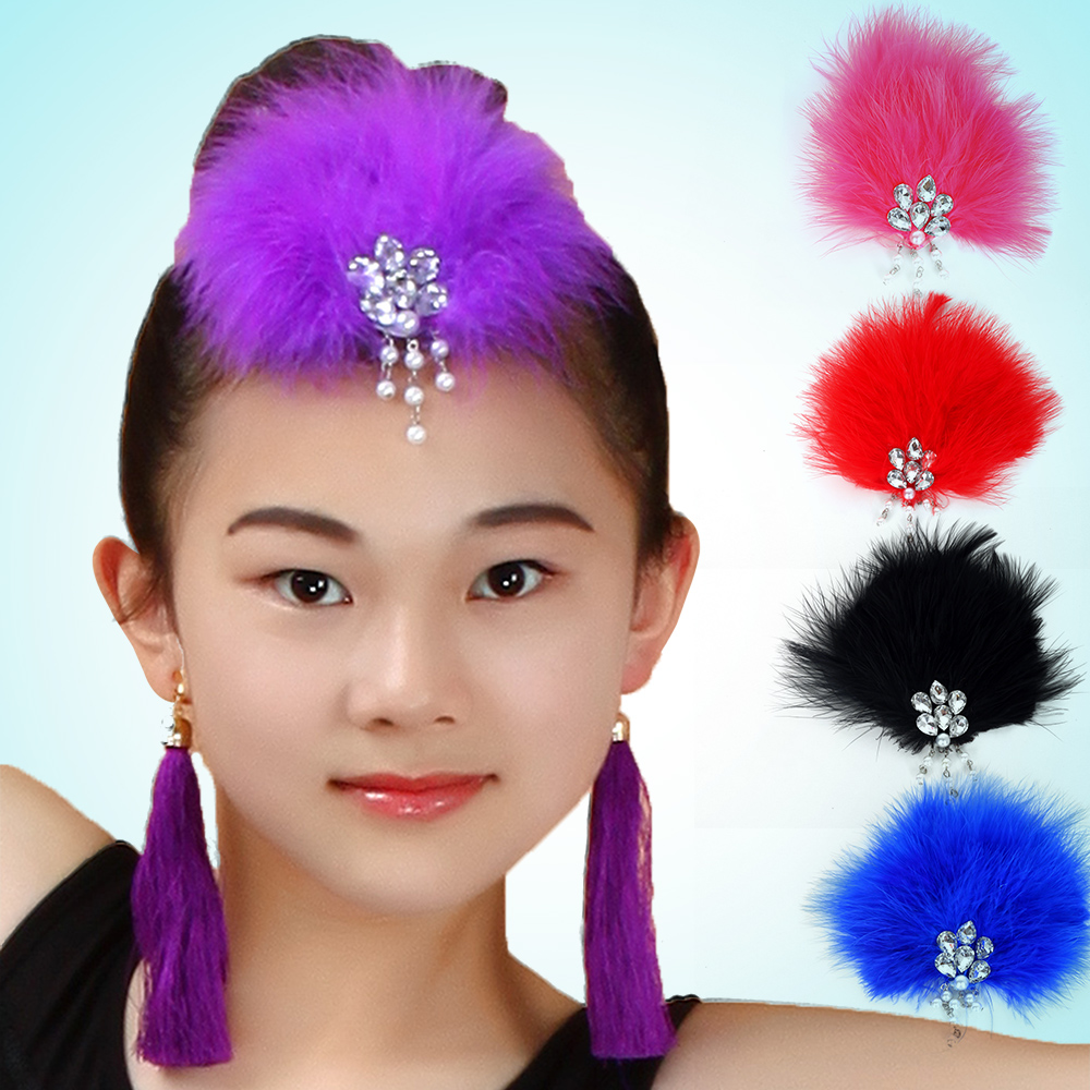 Children latin dance ballet clothes and children's dance headdress diamond with diamond feather headdress headdress dance dedicated
