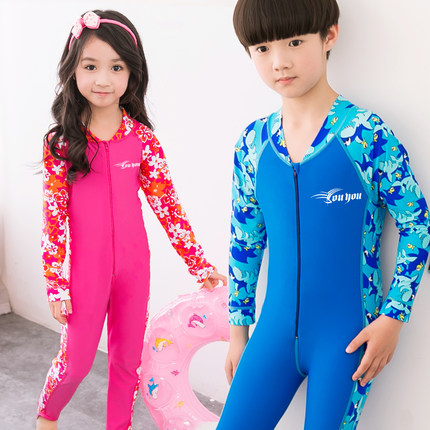 Children piece swimsuit girls and boys long sleeve sun protection clothing sun protection clothing jellyfish clothing snorkeling wetsuit
