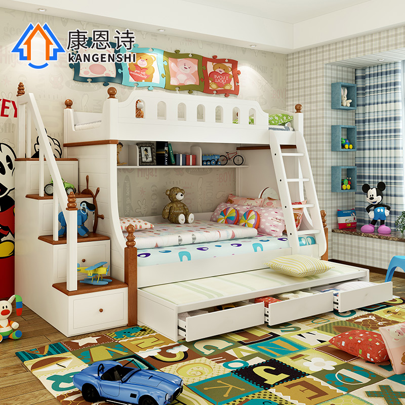 Children's bed bunk bed with guardrail mediterranean bunk bed wood bunk bed bunk bed ladder cabinet bed boys and girls