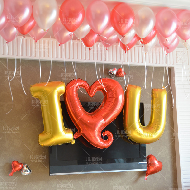 Children's birthday party decoration balloon love balloon wedding wedding wedding marriage room layout 32 inch aluminum gogo heart