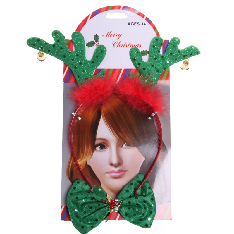 Children's christmas headdress headband head buckle christmas antlers headband with dress headdress mask children's day gift bow