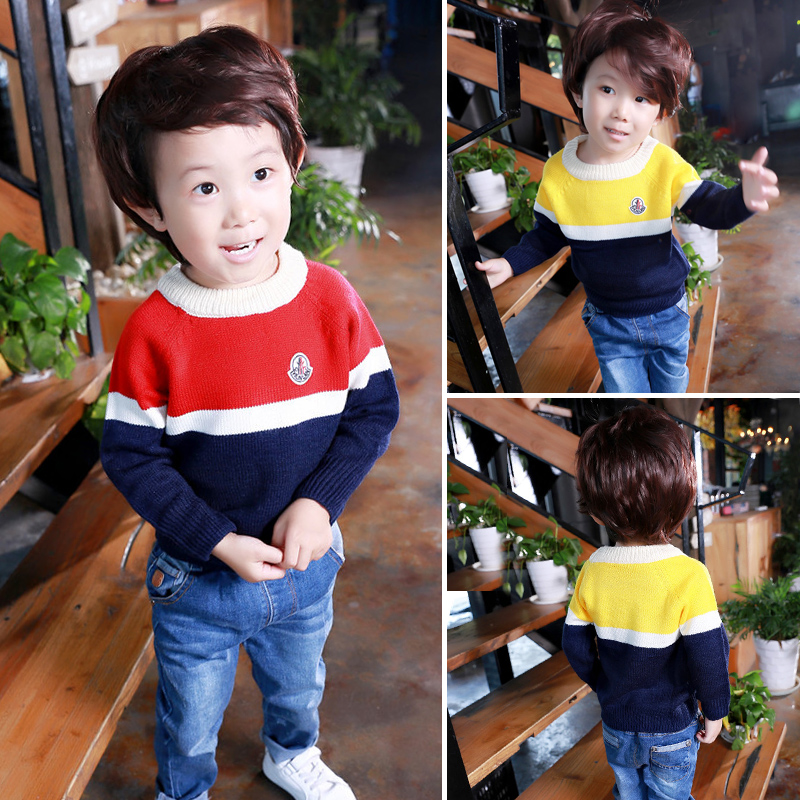 Children's clothing boy sweater autumn children dress in autumn sweater children sweater round neck sweater hedging baby bottoming shirt tide