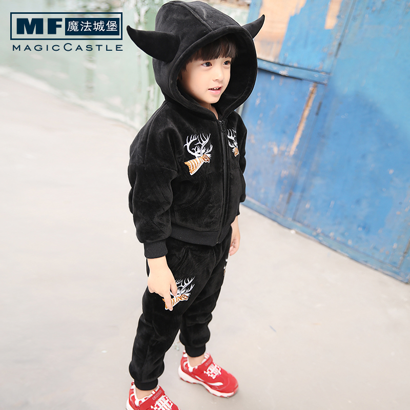 Children's clothing boys fall and winter clothes suit 2016 new wave of korean children in children plus velvet piece fitted boys tide