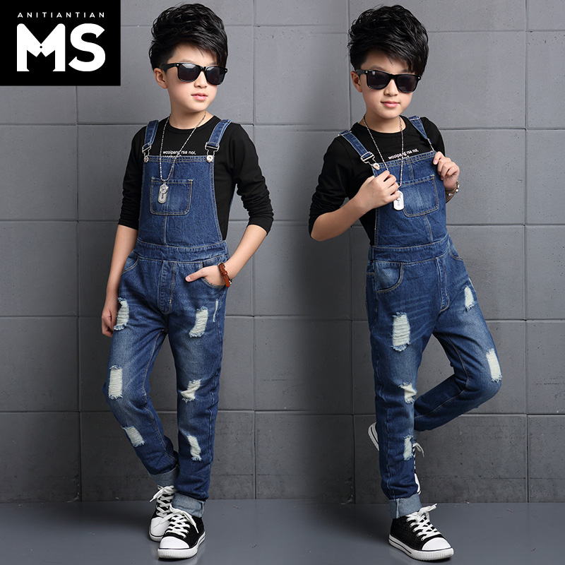 Buy Childrens clothing boys jeans overalls big virgin autumn 2016 new boys  hole jeans pants overalls in Cheap Price on Alibaba.com