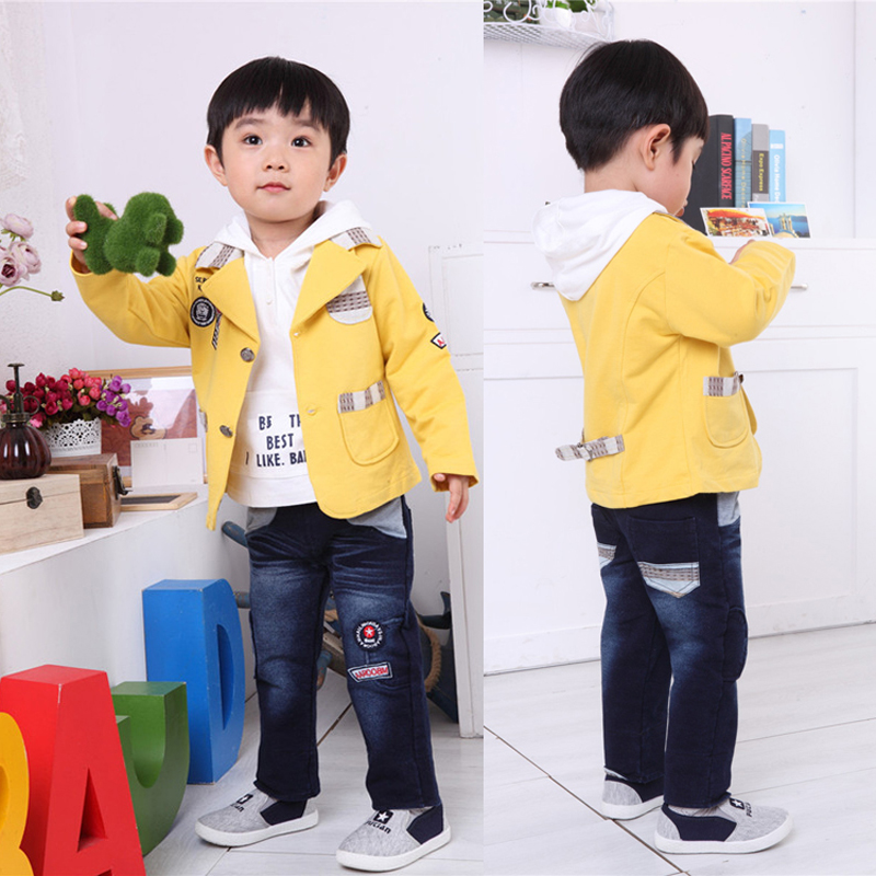 Children's clothing boys suit children suit 2016 spring and autumn new baby cotton leisure suit three sets