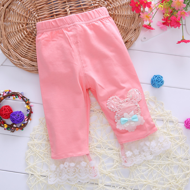 Children's clothing female baby pants leggings cotton baby will open summer seven jeans child