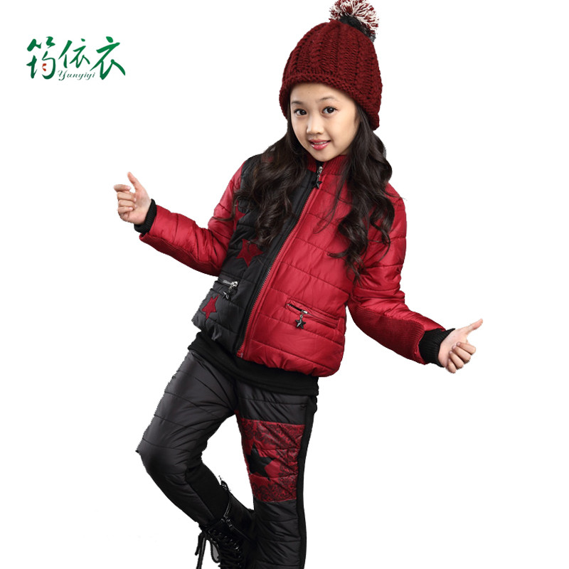 Children's clothing girls fall and winter padded korean version of casual fall and winter clothes for girls plus velvet suit three sets of suits