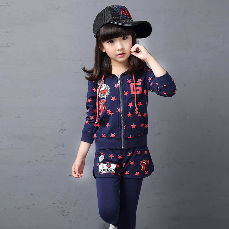 Children's clothing girls suit autumn 2016 korean version of the new big virgin female baby spring and autumn korean version of children's piece tide