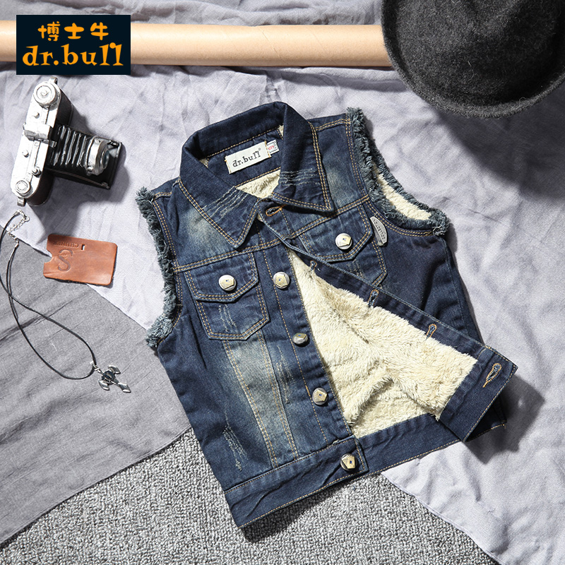 Children's jeans plus velvet vest vest 2016 new winter big virgin boys denim vest jacket korean tidal