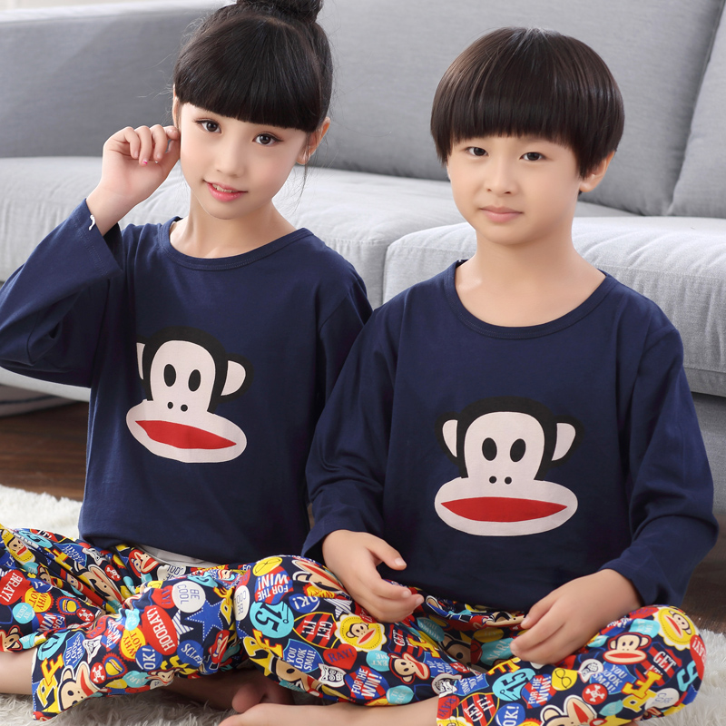 Children's pajamas cotton long sleeve autumn cartoon boys and girls small children baby boy in big boy tracksuit suit