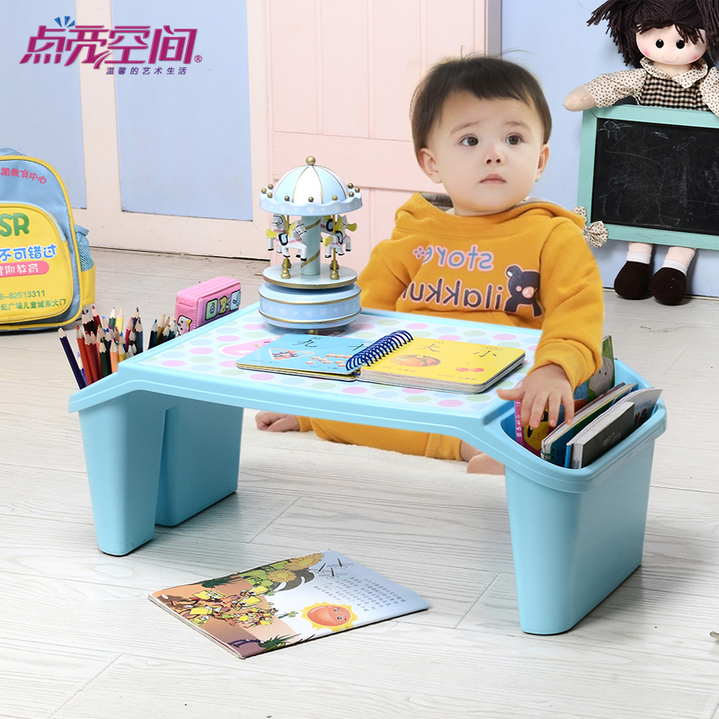 Children's plastic tables baby bed student desk desk desk desk laptop computer desk desktop storage box
