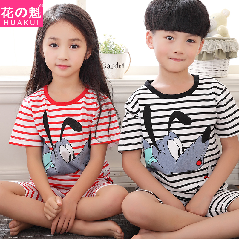 Children's summer short sleeve cotton pajamas boys and girls big boy girl korean version of the cartoon pajamas tracksuit kids