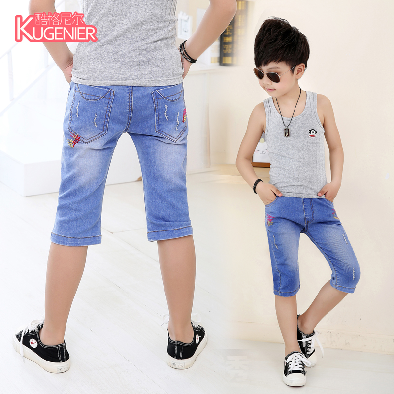 889bf812321f Get Quotations · Children's summer shorts boy pants jeans korean version of  the small children big boy jeans pant