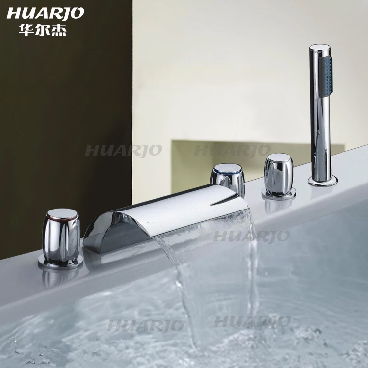 China erjie all copper split five wujiantao cylinder edge bathtub faucet hot and cold faucet hole falls h545