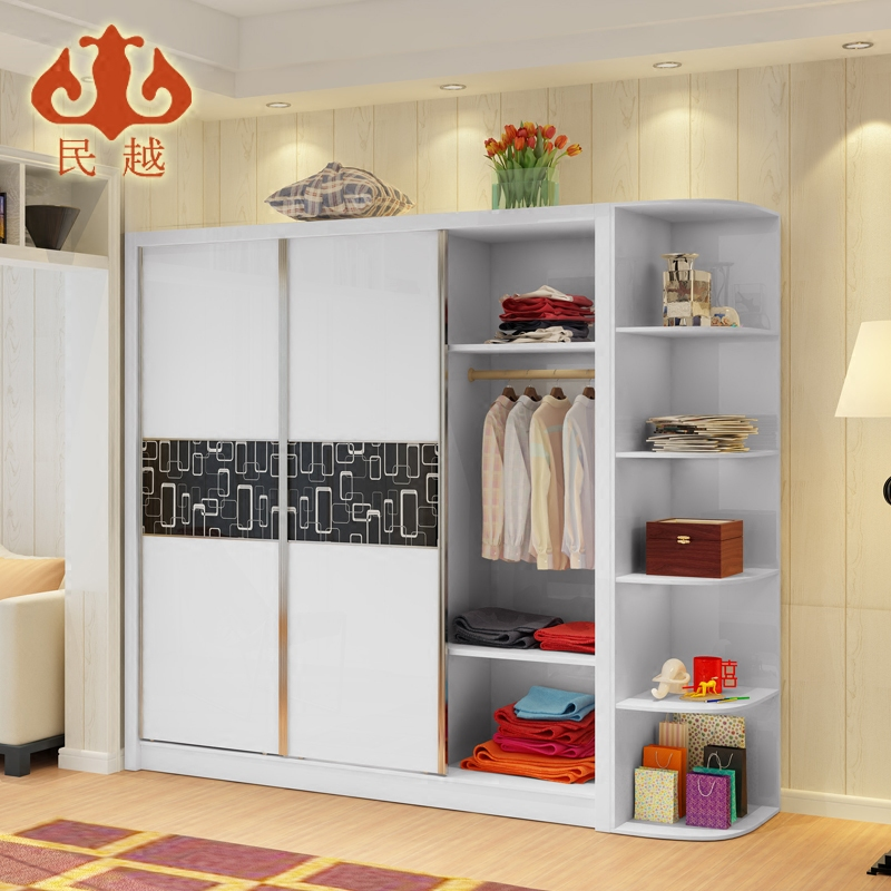 China more four door paint modern minimalist wardrobe sliding door wardrobe whole wardrobe combination plate sliding door