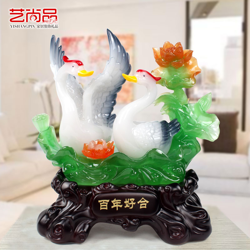 Chinese arts and crafts creative swan ornaments decorations living room furnishings marriage room decorations wedding wedding gift to send girlfriends