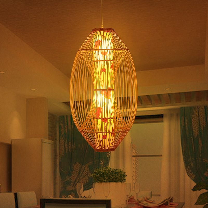 Chinese bamboo chandelier southeast asian style woven rattan cafe restaurant lights mediterranean garden lighting lamps