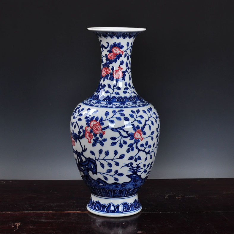 Chinese blue and white underglaze red huai old retro vase decorated ornaments jingdezhen ceramics home decor crafts