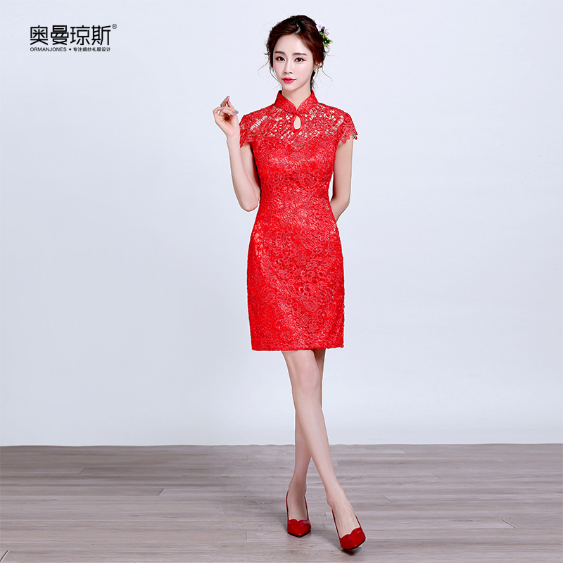 Chinese cheongsam dress wedding dress short paragraph toast the bride dress summer slim lace dress pink evening dress toast dress