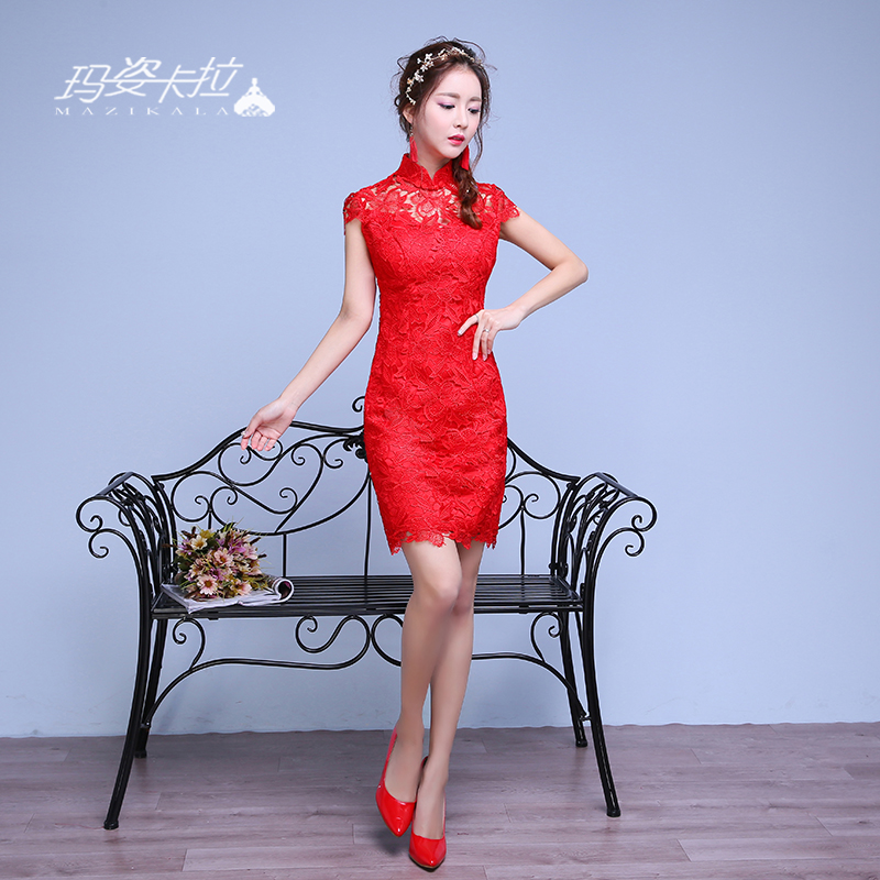 Chinese cheongsam dress wedding dress short paragraph toast the bride dress summer slim lace dress red cheongsam dress toast the bride