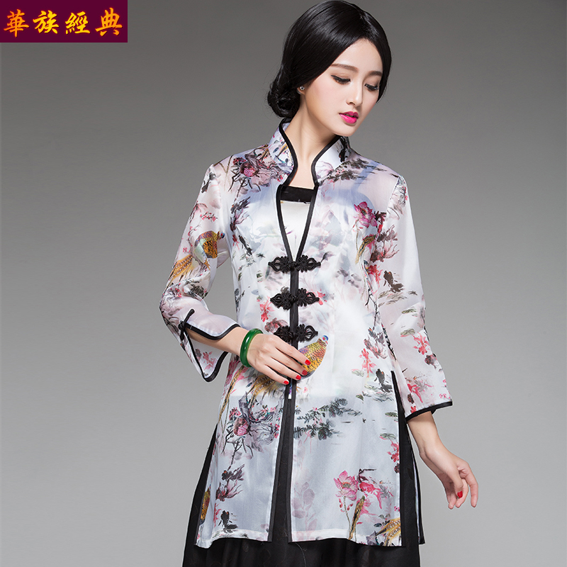 Chinese classical chinese clothing chinese clothing cheongsam costume ladies coat on the original chinese style new spring and summer clothing in the long section