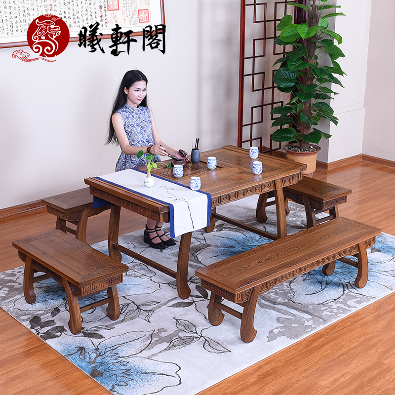 Chinese classical mahogany furniture tea table tea table and chair combination of solid wood coffee table tea sets ming and qing classical chinese style tea table tea table and chair