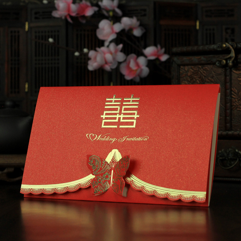 Chinese creative wedding supplies three-dimensional butterflies wedding invitation with triple wedding celebration wedding invitations invitations printed wedding invitations
