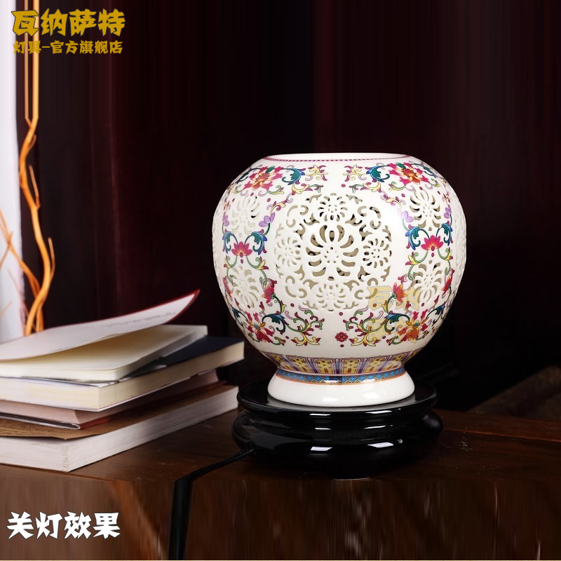Chinese lamps modern minimalistæ´ç¯safflower ceramic base ceramic lamp bedroom living room lamp bedside lamp