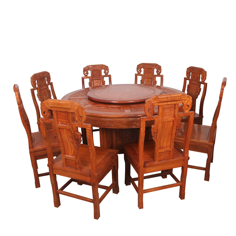 Chinese mahogany wood furniture rosewood dining table round table round table with turntable antique mahogany dining tables and chairs combination