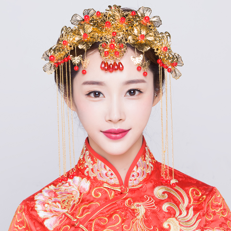 Chinese wedding costume bride headdress hair accessories wedding jewelry accessories jewelry accessories xiu clothing dragon and phoenix gown coronet 81