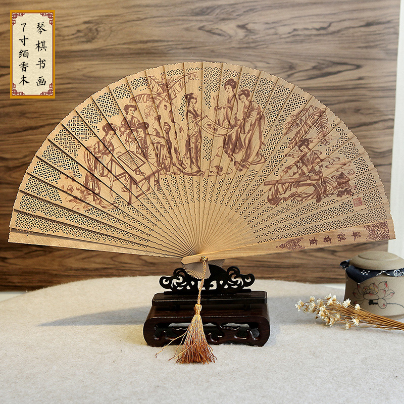 Chinese wind characteristics gifts burma fragrant wood fan sandalwood women 7 inch hollow carved folding fan suzhou ancient