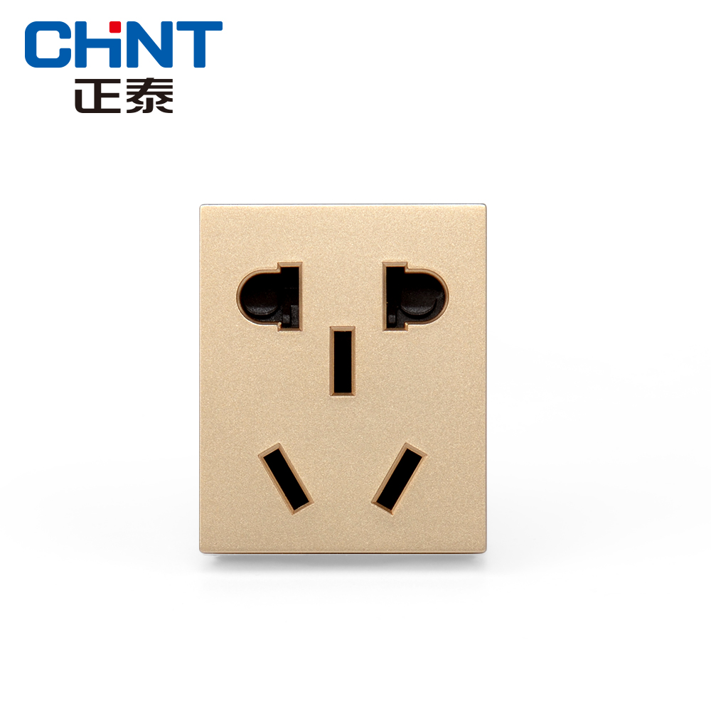 Chint electrician new5d champagne gold two three plug the fifth hole socket module 118 type wall power panel