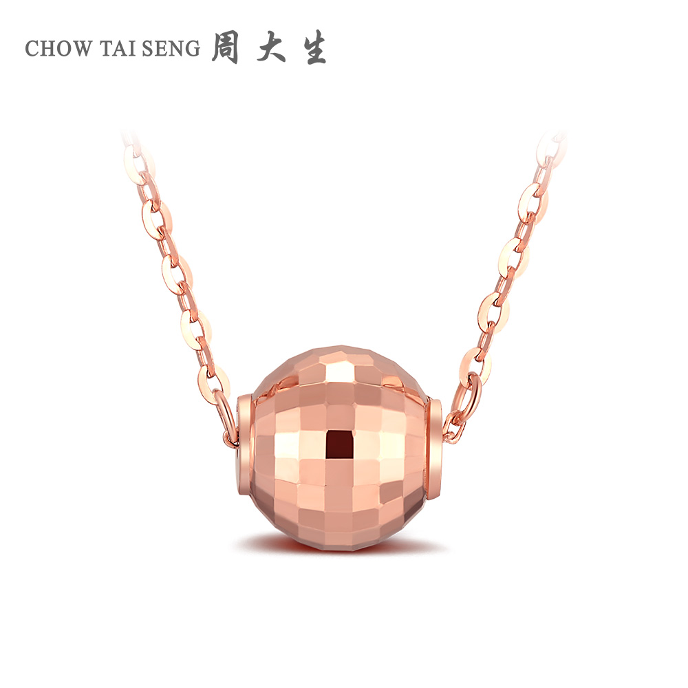 Chow tai seng k gold necklace color gold necklace female models rose gold ball