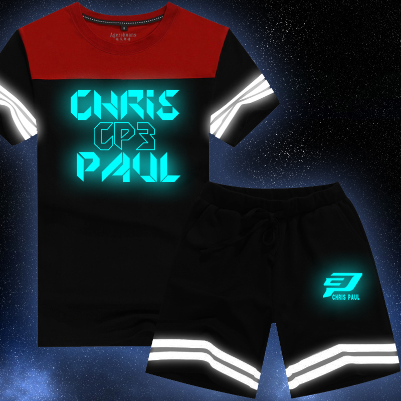 Chris paul fluorescent luminous night reflective sleeved t-shirt teenagers casual trousers summer basketball sports suit