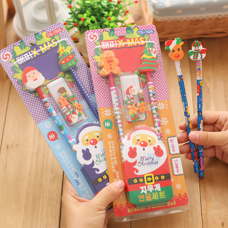 Christmas christmas gifts korea stationery cute cartoon pencil eraser pupils prize packages gifts