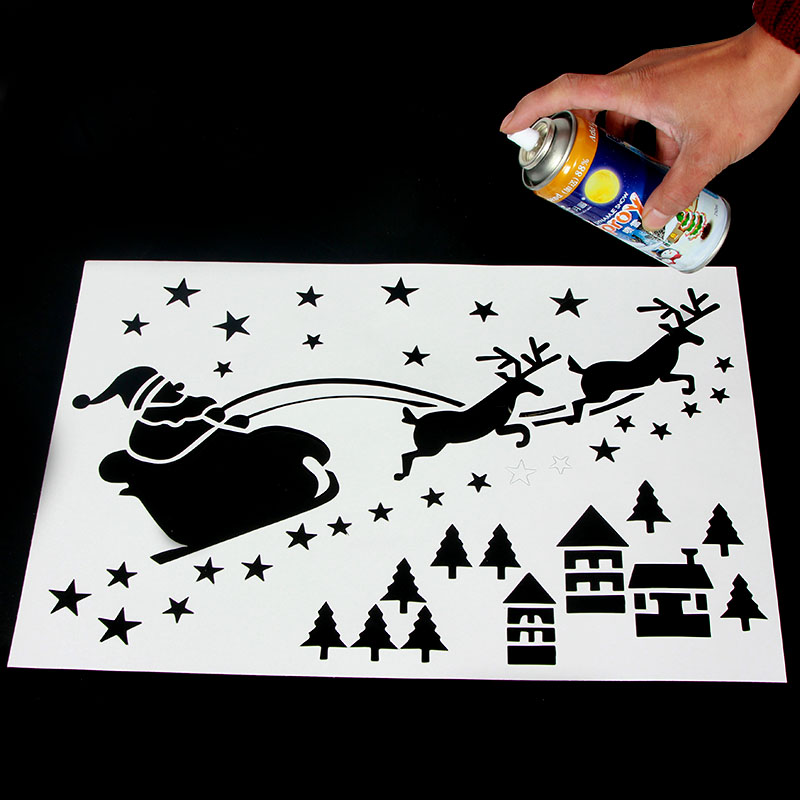 Christmas christmas snow spray spray snow template template christmas spray plate glass inkjet paper window spray snow queen 160g