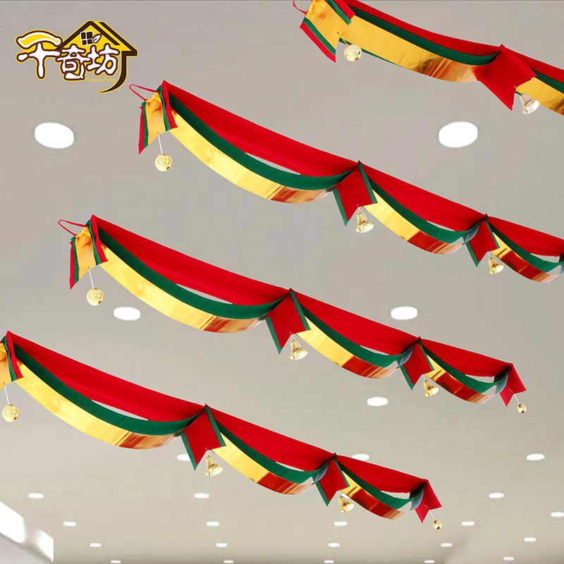 Get Quotations · Christmas decorations christmas waves flag flag hanging flags banners bunting holiday hotel roof bar mall store