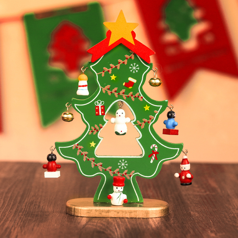 Christmas decorations single flat wooden christmas tree ornaments creative desktop wooden christmas tree christmas gifts