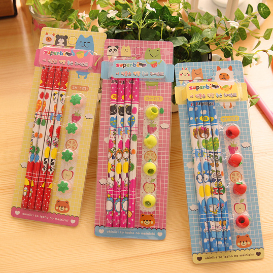 Christmas gifts korea creative stationery cute cartoon pencil pupils prizes eraser blister card boxed