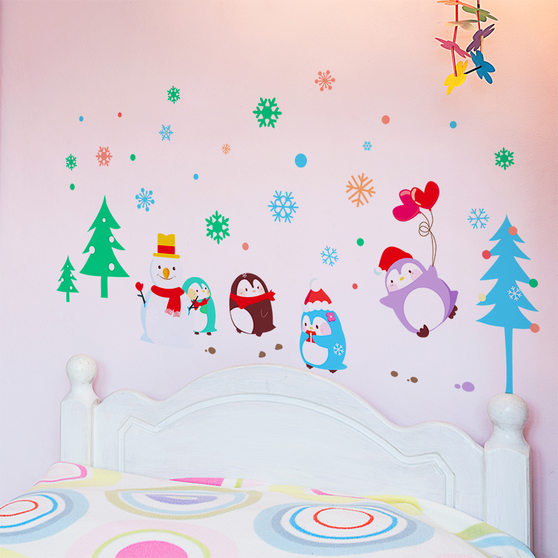 get quotations a christmas tree snowman penguin cute cartoon stickers wall stickers children s room wall decoration painting kindergarten layout