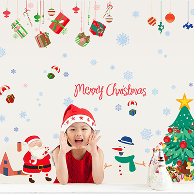 Christmas wall stickers nursery wall stickers children's room decorated christmas tree santa claus snowman gift ornaments