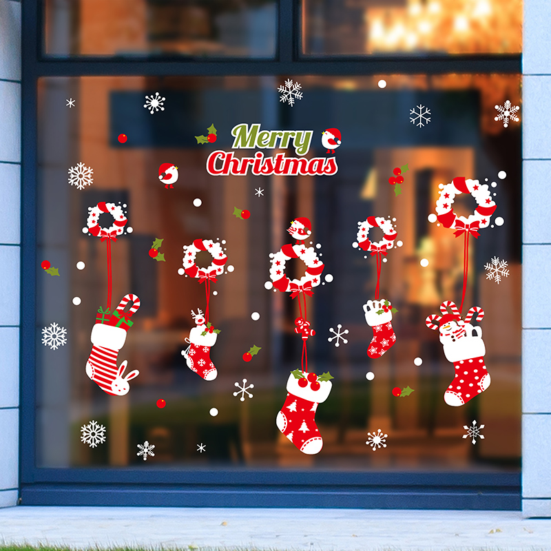 Christmas wreath christmas stockings christmas decorations wall stickers shop mall restaurant bar creative wall stickers glass sticker