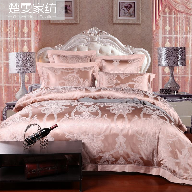 Chu wen textile bedding genuine european wedding 100 silk jacquard silk linen six sets breeze