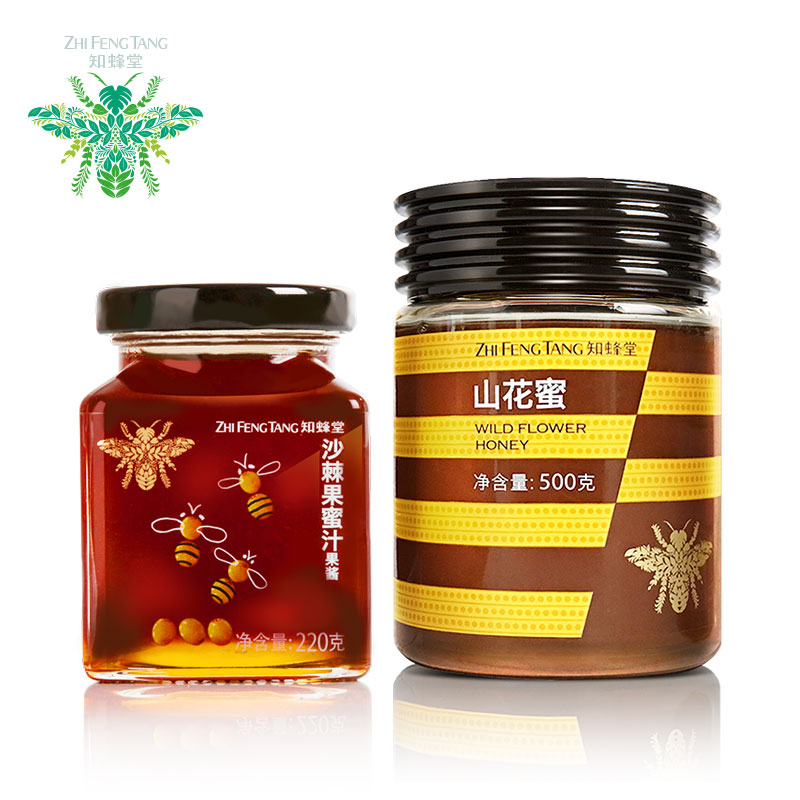 [Church known bee] flowers honey 500g/bottle of sea buckthorn fruit honey 220g/bottle combination of equipment [sf Free shipping]