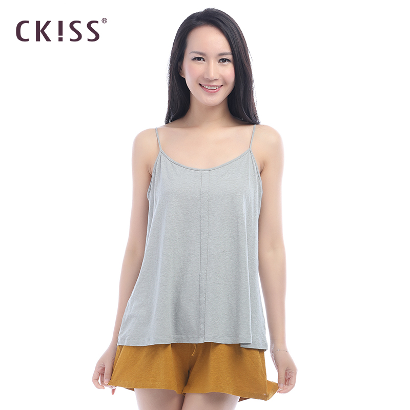 CKISS16 years of the new simple cotton solid color camisole female summer linen adjustable shoulder strap camisole straps bottoming