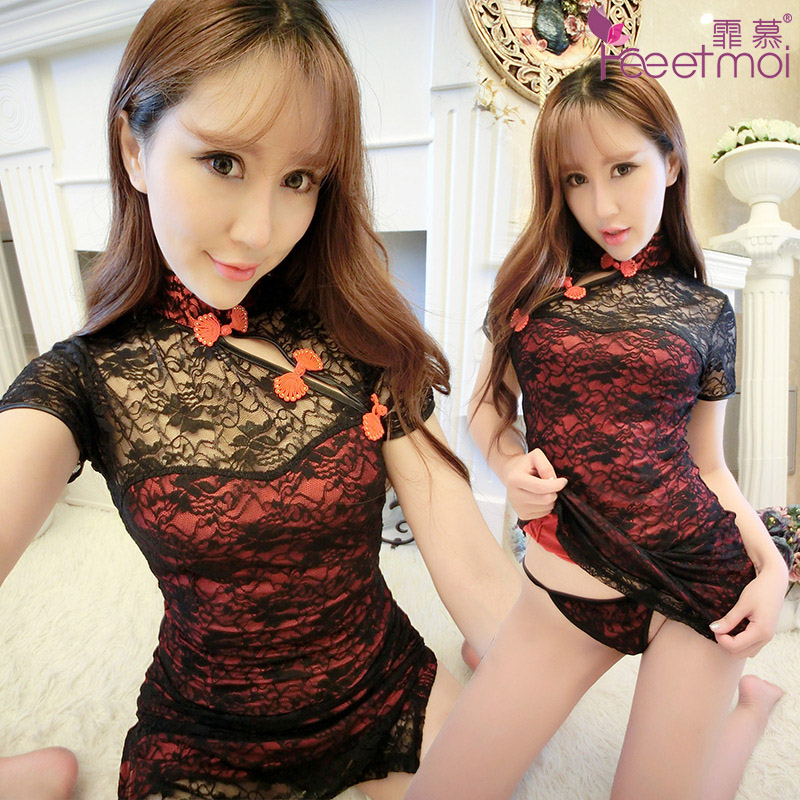 Classic lace dress sexy adult perspective sexy lingerie suit uniforms temptation transparent pajamas cr