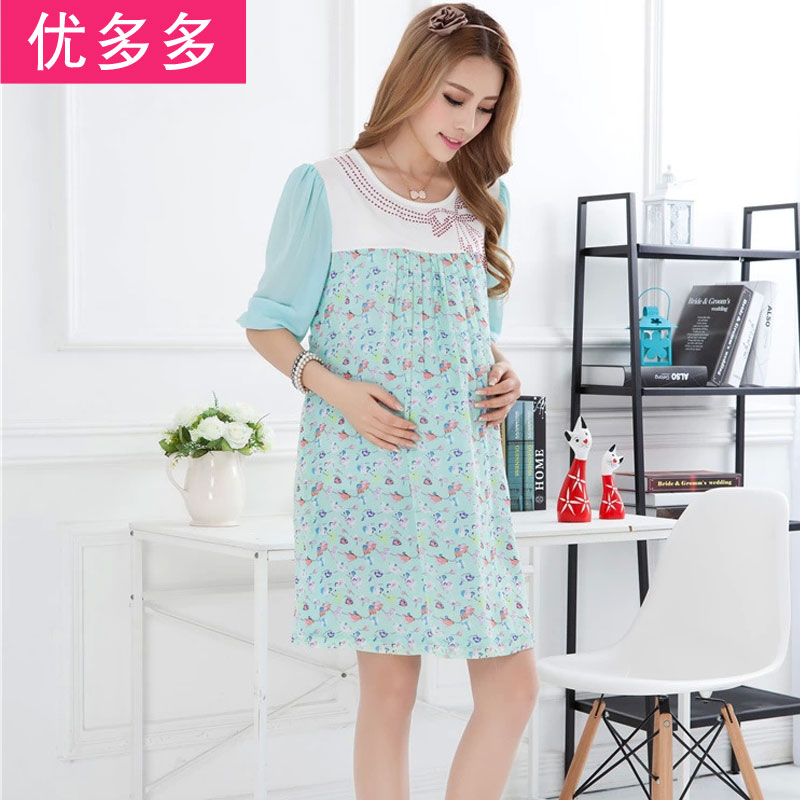 Clearance maternity summer korean version of the new spring and summer fashion women skirt pregnant women dress sleeve chiffon skirt pregnant women dress