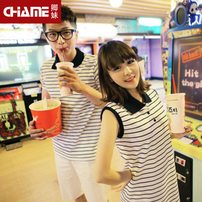 Clearance summer paragraph qlz lovers summer 2016 short sleeve t-shirt lovers korean version of the influx of new men's t skirt beach