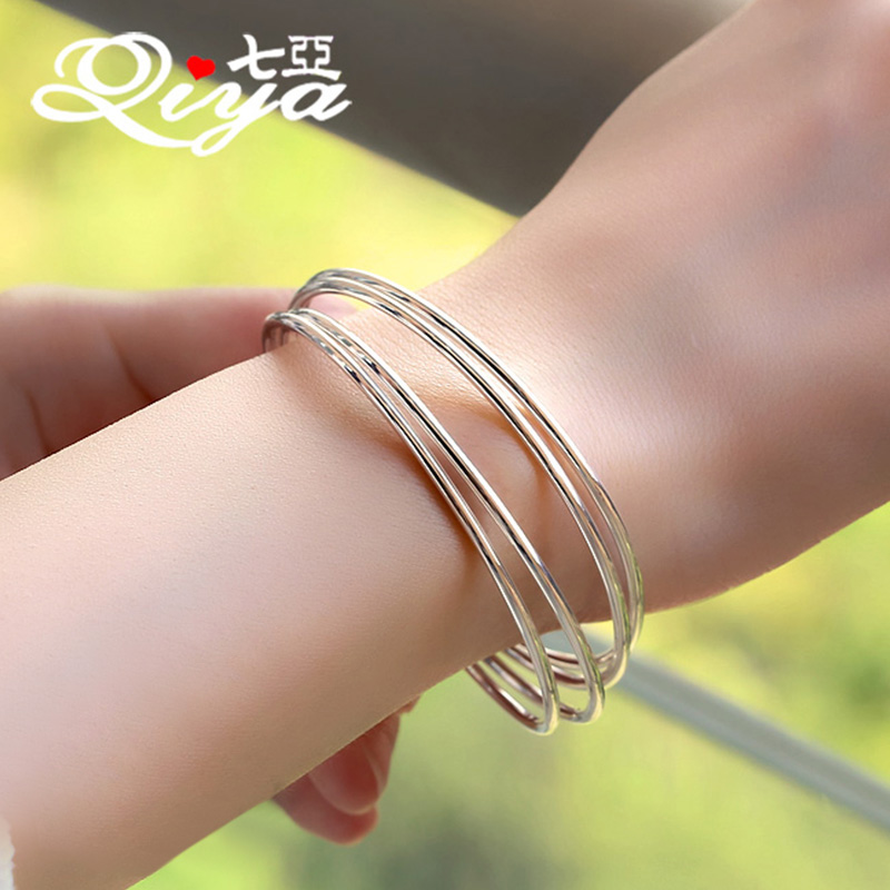 Closed s990 sterling silver bracelet female glossy silver bracelet fine silver multiturn bracelet japanese and korean fine silver jewelry to send his girlfriend a gift