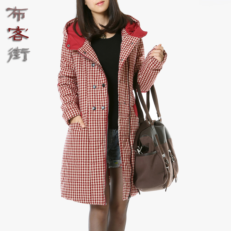 Cloth off street 2015 winter clothes commoner literary zipper large size women thick plaid cotton jacket/jacket 5666